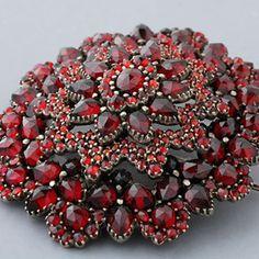 Impressive Antique Bohemian Garnet Rose-Cut Brooch - Victorian Era