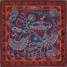 deb4bf760f13 Zenobie, Reine de Palmyre Hermes silk twill scarf, hand rolled, x silk)  Color   prune mahogany gray Designed by Annie Faivre Ref.