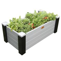 24 in. x 48 in. x 18 in. Maintenance Free Black and Gray Vinyl Raised Garden Bed, Black/Gray