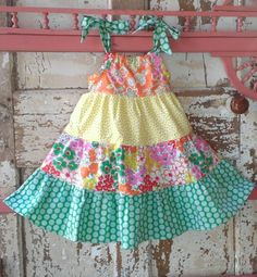 Lemons Limes & Clementines Sweet colorful by PaisleysAndPeacocks Baby Summer Dresses, Little Girl Dresses, Girls Dresses, African Dresses For Kids, White Crochet Top, Kids Dress Wear, Baby Girl Dress Patterns, Kids Frocks Design, Kids Fashion