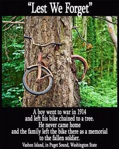 LEAST WE FORGET!!  A boy went to war in 1914 & left his bike chain to a tree. He never came home and the family left the bike there as a memorial of the fallen soldier.  Vashon Island, Pudget Sound Washington