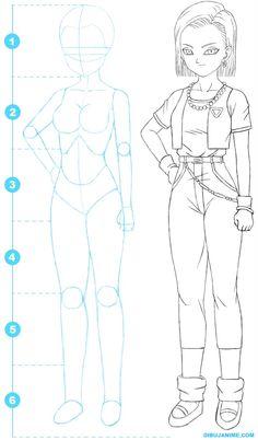 Como dibujar a Numero 18 (Androide de DBZ) - Paso a paso