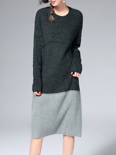 Casual Color-block Long Sleeve Sweater Dress