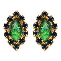 Vivienne Earrings Green Glass, $57, now featured on Fab.