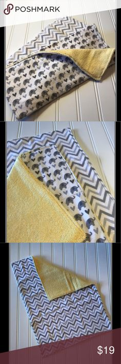 Set of 2 Baby Burp Cloths gender neutral baby gift This oversized burp cloth set is the perfect baby shower gift for the new baby in your life! The cloths are soft and super absorbent compared to store bought cloths. The front of the cloths feature Neutral Gray Elephants and Chevons with a yellow terry cloth backing for added absorbancy. May only bundle with other baby items.  All fabrics are pre-washed with scent free detergent and top stitched for durability.   Different fabric and…