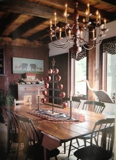 Beautiful primitive room with wood ceilings