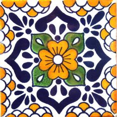 / hand painted mexican talavera tile from hadeda / in blue and gold /