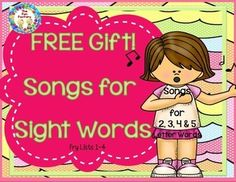 "FREE!! Sight Word Songs. Your students will learn to read and write their Sight Words in record time with these songs! This is a super fun way to learn instead of ""drill and kill""!  FREE!!  Research shows that using music to learn can have an impact on cognitive, social-emotional, and physical development.  All songs are original by Susan Paul. This is a sample using the words: at, ten, girl, which, and purple."