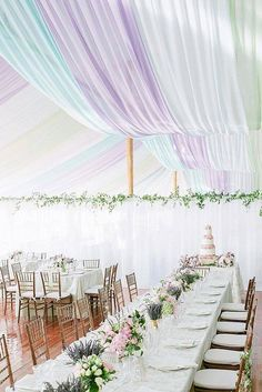 30 Wedding Tent Ideas For A Stunning  Wedding ❤ wedding tent pastel decorated with greenery and flowers pink and purple white tablecloths wedding cake with flowers wilkie via instagram ❤ See more: http://www.weddingforward.com/wedding-tent/ #wedding #bride