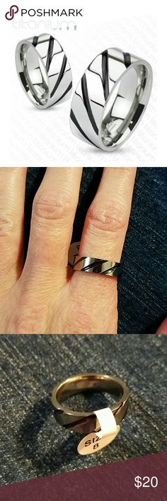 FLASH SALESOLID TITANIUM BLACK IP STRIPED BAND Edgy unisex band ring. Great for a thumb ring. Size 8 - 6mm width Size 9 - 8mm width Jewelry Rings