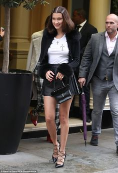 Bella Hadid puts on very leggy display in leather mini skirt Bella Hadid Outfits, Bella Hadid Style, Renaissance Clothing, Steampunk Clothing, Gothic Steampunk, Victorian Gothic, Steampunk Fashion, Gothic Lolita, Star Fashion