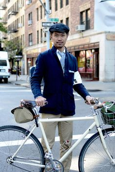 New York | Rapha - I love this navy unstructured jacket and khaki combo. The gingham tie and hat are nice touches.
