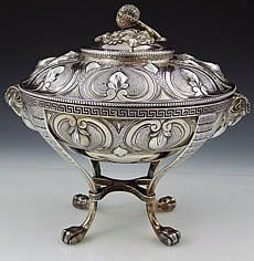 Edward Moore for Tiffany Sterling Covered Strawberry Dish with Rams Heads Broadway mark