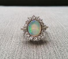 Ópalo y diamante bailarina antiguo anillo Baguette por PenelliBelle