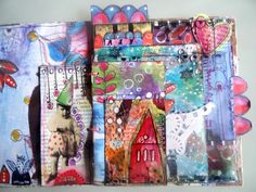 art journal mixed media pages 3 et 4 by Francoise MELZANI, via Flickr