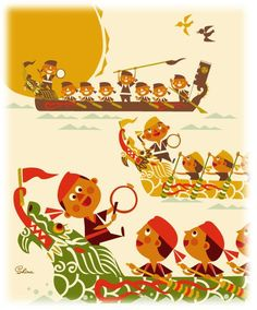 """The dragon boatrace which is a traditional event in Okinawa """"Hurry"""" illustration by Seitarou Shima"""