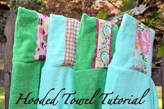 Towels aren't usually this pretty but by adding your own embellishments, even something as simple as a towel can turn into a fun sewing project! Let the Embellished Hooded Towel Tutorial show you crafts made with towels are the way to go. Sewing Hacks, Sewing Tutorials, Sewing Projects, Sewing Patterns, Sewing Ideas, Sewing Crafts, Diy Projects, Quilt Patterns, Free Tutorials