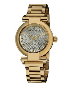 Take a look at this Gold Diamond Pave Watch by Akribos XXIV on #zulily today! $110 !!