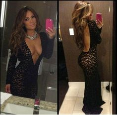 Jlo style long black lace gown