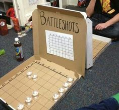 alcohol, creative, drinking, party I want to try this with the kids but replace alcohol with candy or dimes. (party drinks alcohol with candy) Battle Shots, Fun Games, Awesome Games, Creations, Crafty, My Love, How To Make, Pizza Boxes, Random