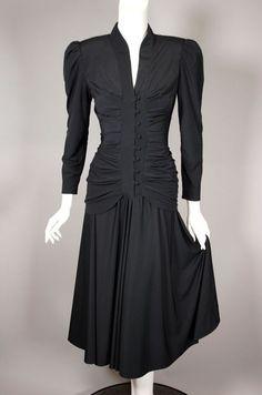 f4e9062efa00 80s dress black 1940s film noir style shirred bodice from Viva Vintage  Clothing. Size XS