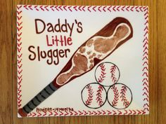 Daddy's little slugger footprint art perfect fathers day gift, fathers day diy, fathers day gifts homemade Daycare Crafts, Baby Crafts, Toddler Crafts, Crafts To Do, Infant Crafts, Kid Crafts, Daycare Ideas, Preschool Ideas, Fathers Day Art