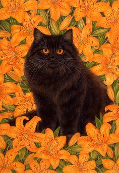 Iris The Art of Anne Mortimer - Beautiful Orange eyed Black Kity among the Orange Tiger Lillies.