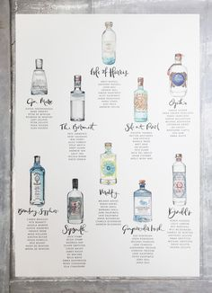 Commission a bespoke wedding gin bottle table plan. Hand painted watercolour gin bottles with pen and ink illustrations. Visit my site through the link and get in touch with your ideas. Illustrated Wedding Invitations, Personalised Wedding Invitations, Wedding Stationary, Bespoke Wedding Invitations, Personalized Wedding, Invites, Wedding Table Themes, Seating Plan Wedding, Wedding Ideas