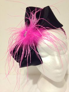 Hot Pink Feather Black Cheer Bow Feather by FancyGirlBoutiqueNYC