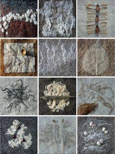 Felted textures / Gillian Chapman / Row 1: Wool Slub/Knops - Linen Noil - Jute Row2: Synthetic Mesh - Banana Tops - Skeleton Leaf Row 3:Bamboo Tops - Carded Cotton - Carded Jute Row 4: Soya Staple - Flax Tops - Crab Fibre Tops