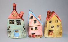 Small Ceramic Houses Miniature Houses Colorful by BadDogCeramics Clay Houses, Ceramic Houses, Miniature Houses, Ceramic Clay, Ceramic Pottery, Cardboard Houses, Art Houses, Doll Houses, Miniature Dolls
