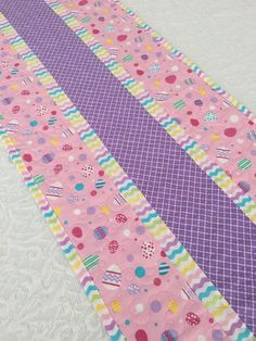 Easter Table Runner Quilt Pink Lavender Easter by KeriQuilts