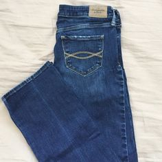 Abercrombie and Fitch jeans Abercrombie boot cut jeans. They're slightly destroyed, with one rip in the knee and the front picket fringes. Very good condition! Abercrombie & Fitch Jeans Boot Cut
