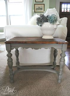 Annie Sloan Chalk Paint.  COLOR: French Linen.  I think this color might work with any color scheme.
