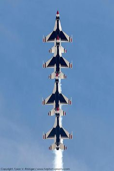 "Air Force Thunderbird F-16 Falcons ""inline"" vertical aerobatics. ACFilters4Less.com  plane falcon"