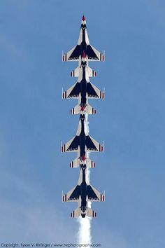"Air Force Thunderbird F-16 Falcons ""inline"" vertical aerobatics. ACFilters4Less.com"