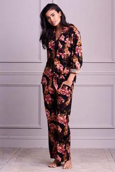2ad2294c3d1da5 Floral Print Cosy Wrapband Pyjamas Striped Pyjamas, Pajamas Women, Pajama  Set, Pjs,