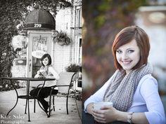 Fun coffee shop senior picture Milford senior photos