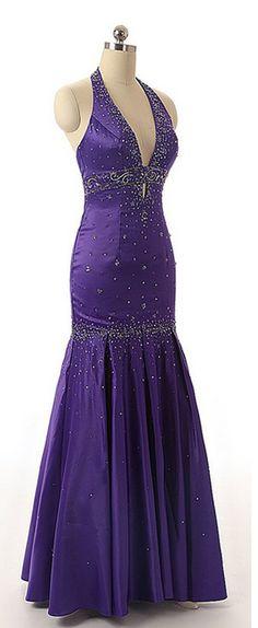 Sexy Prom Dress,High Quality Prom Dress,Deep V- Neck Prom Dress,Halter Prom Dress,Beaded Prom Dress,Mermaid Prom Dress,Satin Prom Dress,Long Prom Dress HG200