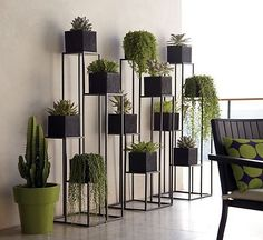 Quadrant Plant Stand with Four Planters (C). Green Indoor plants Tropical Boho Bohemian Relax Nature Hippy Bold Paint Styling Interior Design Home Botanical Herb Garden Design, Garden Ideas, Decoration Plante, Diy Plant Stand, Plant Stands, Vertical Gardens, Plant Decor, Crate And Barrel, Design Case
