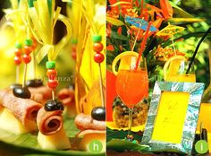 Tropical-themed appetizers and cocktails