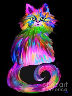 A colorful finger painted cat GORGEOUS WORK <3<3<3 @