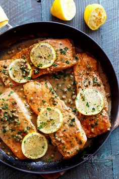 A lightened up, easy Salmon Piccata with all of the authentic Piccata flavours of white wine, capers, lemon and garlic. Gourmet cooking in minutes!