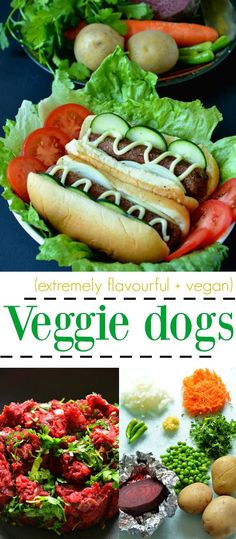 Veggie Dog - Vegetarian Hot Dog. This vegetarian version of the classic Hot dog is healthier than the meaty kind, more flavourful, mildly spiced and delicious!