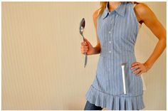 Adorable, Apron from men's shirt.  Love the pleated bottom.  A perfect bridal shower gift using her fiances shirt.