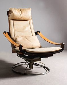 Rare Norwegian vintage Leather Easy-chair / Lounge chair, Space age on Etsy, $2,056.74
