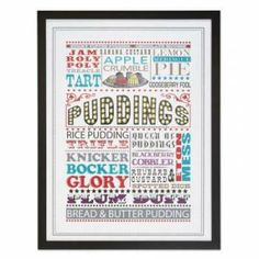 This Classic Puddings Framed Wall Art is perfect for any lover of sweet deserts and vintage typography! Cute Gifts, Unique Gifts, Diy Gifts, British Pudding, Framed Wall Art, Framed Prints, Art Prints, Unusual Presents, Clip Frame