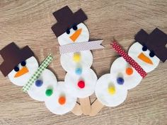 Snowmen made from ice cream sticks and cotton pads - handicrafts with children .- Schneemänner aus Eisstielen und Wattepads – Basteln mit Kindern – Handwerk Ideen Snowmen made from ice cream sticks and cotton pads handicrafts with children - Simple Christmas, Christmas Time, Christmas Gifts, Christmas Ornaments, Toddler Crafts, Preschool Crafts, Kids Crafts, Diy Crafts To Do, Easy Crafts