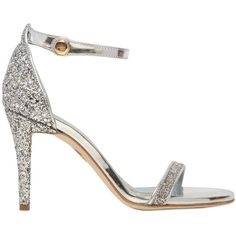 90mm Glittered covered heel. Adjustable metallic leather ankle strap  . Glittered band . Leather lining and isle . Leather sole