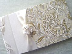 Wedding Guest Book Guestbook Gold and Ivory Guest book by Daisyblu